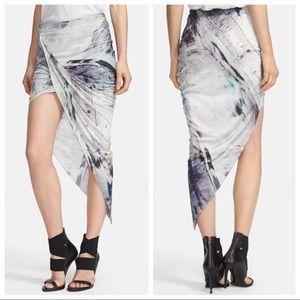 Helmut Lang Asymmetrical Tidal Print Twist Skirt